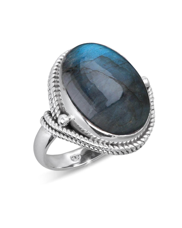 925 Sterlingsilber Labradorite Ovale Form Ringe