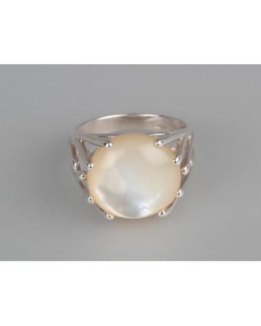 Aden's Jewels-Bague-Cabochon Corail-Branches Argent-Bijou Femme