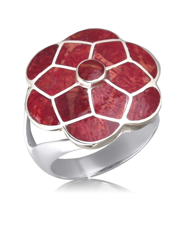 925 Sterlingsilber Koralle Blumen Ringe