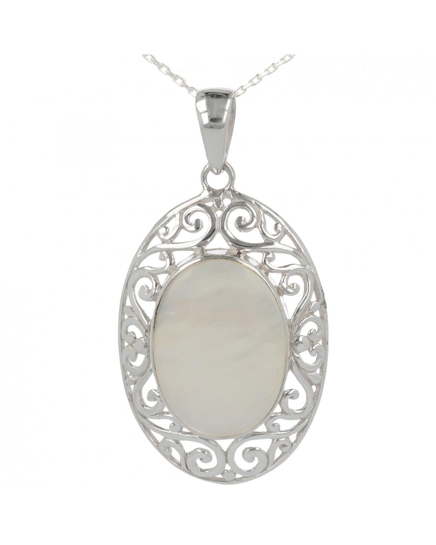 Colgante Madre perla Abalone Forma Oval Plata de Ley 925