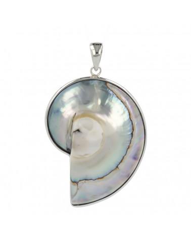 Aden's Jewels-Pendentif-Argent 925 K-Femme-Nacre-Blanc-fleur en spirale -Dimension diamètre 32mm