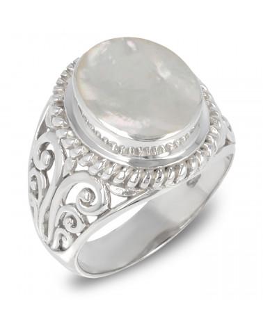 Weiss Perlmutt Ring Set mit einem silbernen Kragen 925-000