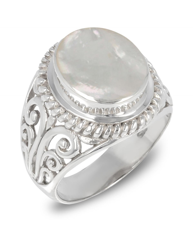 Anillo Madre perla blanca Forma Oval Plata de Ley 925