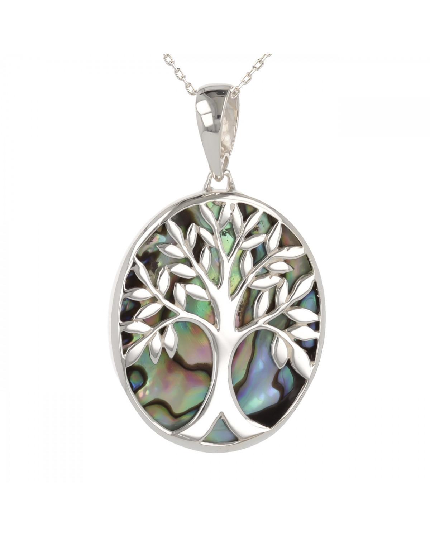925 Sterlingsilber Perlmutt Abalone Baum des Lebens Ovale Form Anhänger