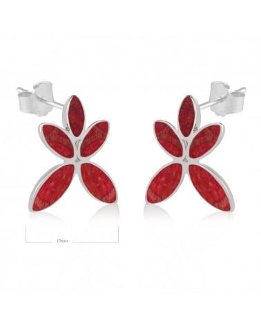 Geschenk Frau-Ohrringe Blume-Rote Koralle-Sterling Silber-Frau