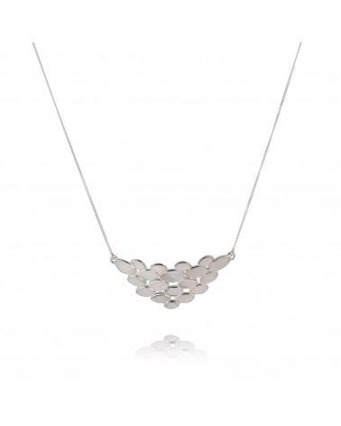 Halskette Blütenblätter Abalone Perle Silber an Silberkette