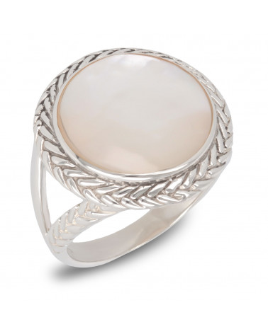 Geschenk Schmuck-Ring-Weiss Perlmutt-Sterling Silber-Frauen