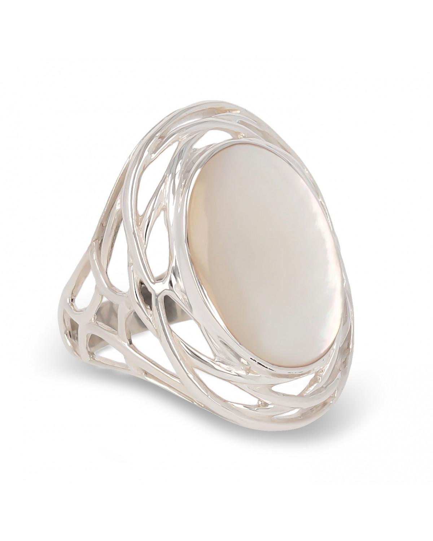 925 Sterlingsilber Perlmutt Weiss Ovale Form Ringe