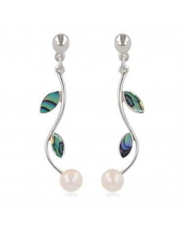 Damen Geschenk Idee-Dangle Ohrringe-Perlen- Abalone Blütten-Sterling Silber-Frauen