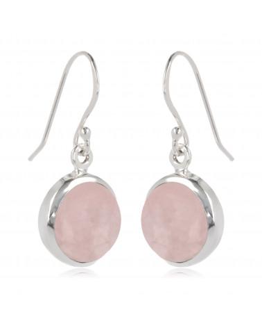 Rundförmige Rosa Quarz-Ohrringe-Sterling  Silber-Damen