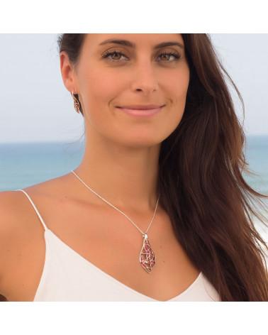Original Frau Geschenk-Anhänger - Koralle - Blume-Sterling Silber-Frau