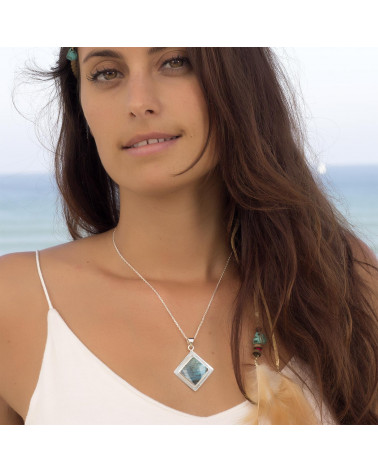 Personalisierte Geschenk Frau - Anhänger - Labradorit-Square-Form - Sterling Silber - Frau