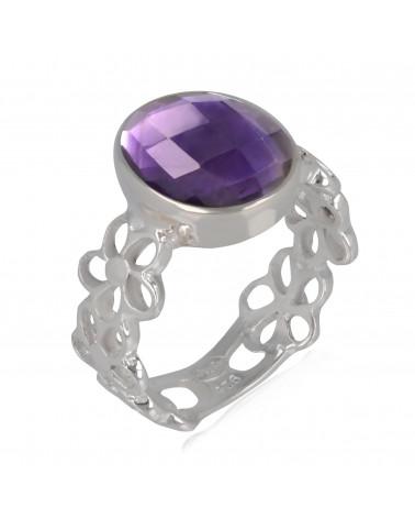Anillo de piedra de amatista de faceta Plata esterlina Púrpura Idea para regalo