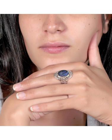 Schmuck Geschenk-Stilisierte Ring-Schöpfer-Perlmutt-Abalone-Stilisierte Ring-Solide Silber-Frau