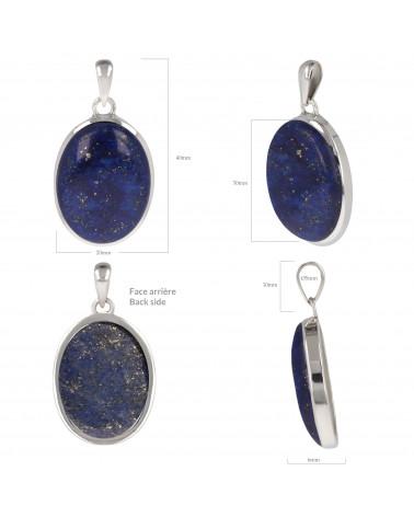 Originelles Geschenk Frau-Feine Oval Steine-Lapislazuli Anhänger-Sterling Silber-Frau