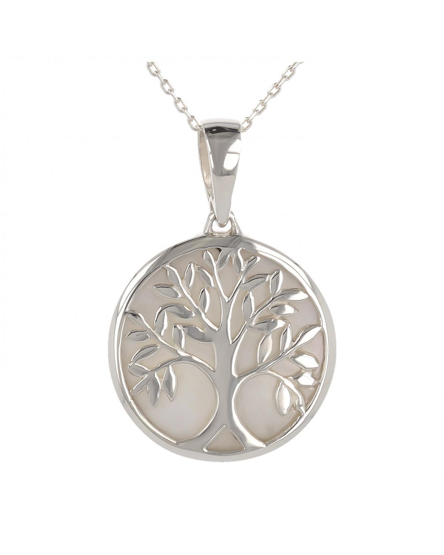 925 Sterlingsilber Perlmutt Weiss Baum des Lebens Rund Form Anhänger