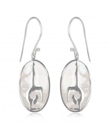 Idea de regalo Joyas Pendientes Yoga Plata esterlina Rodio plateado Madre de perla Oval Mujer