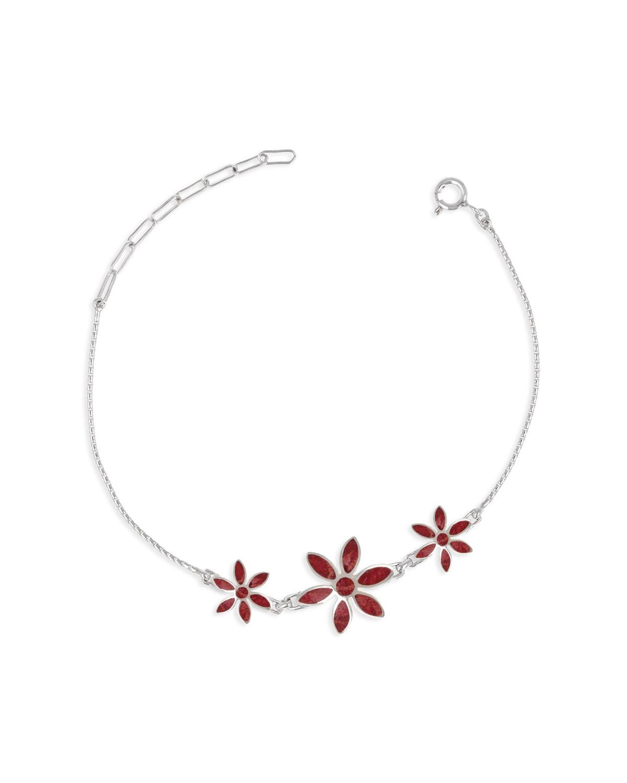 925 Sterlingsilber Koralle Blumen Armband