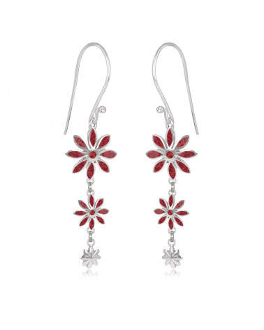 personalisierte Geschenk Frau-Ohrringe Coral-3 Blumen-Sterling Silber-Frau