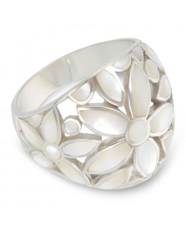 Schmuck-Geschenk-Blume-Ringe-Weisse Perlmutt-Silber-Damen