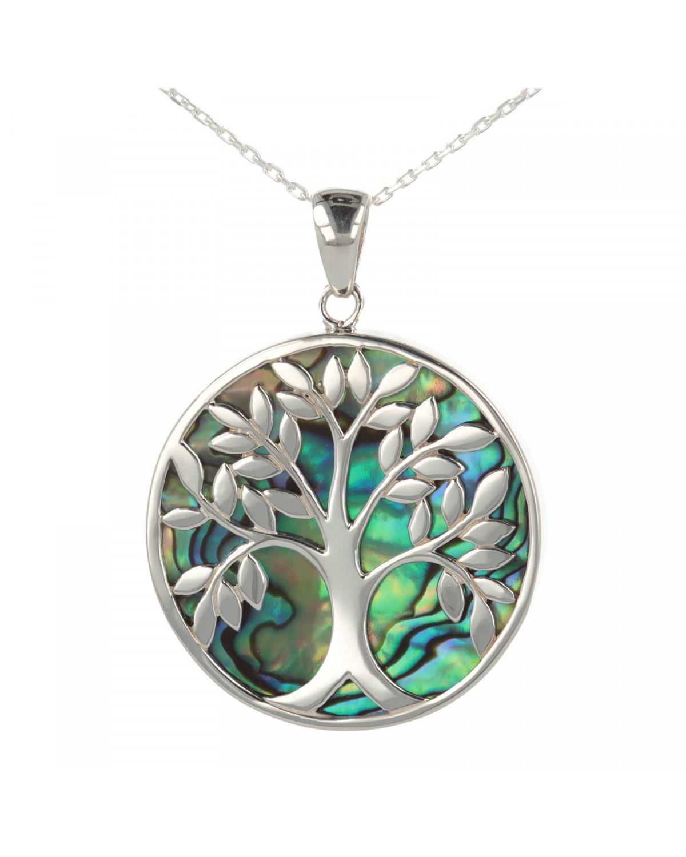 925 Sterlingsilber Perlmutt Abalone Baum des Lebens Rund Form Anhänger