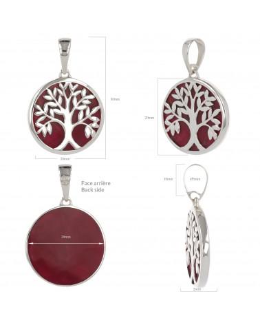 Schmuck-Geschenk-Symbol Baum des Lebens-Anhänger-Rote Koralle-Silber-Oval-Unisex