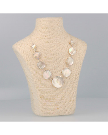 Geschenkidee Schmuck Halskette Perlmutt weiss - runde Frau aus Sterlingsilber