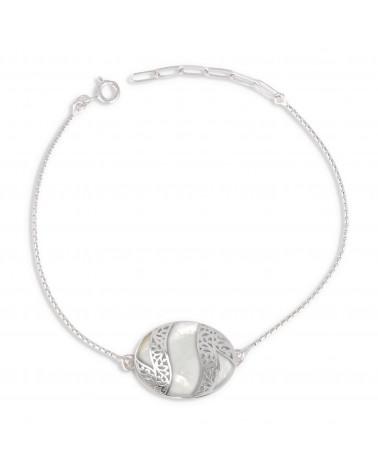 Cabochon Armband aus Perlmutt Weiss und Silber Spitze 925K