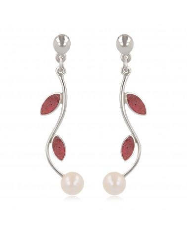 Pendientes de perlas de coral de perlas blancas Pendientes de plata de ley de coral de las mujeres