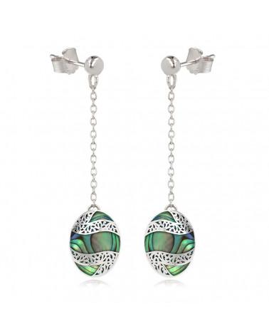 Simbolo di gioielli regalo Albero della vita Anello bianco madreperla Argento ovale Donna