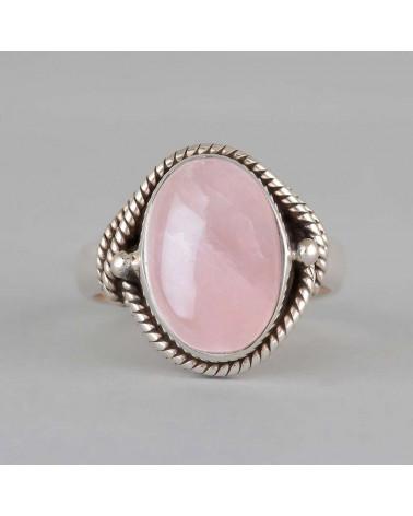 Anillo de cuarzo rosa engastado con un collar de plata 925-000