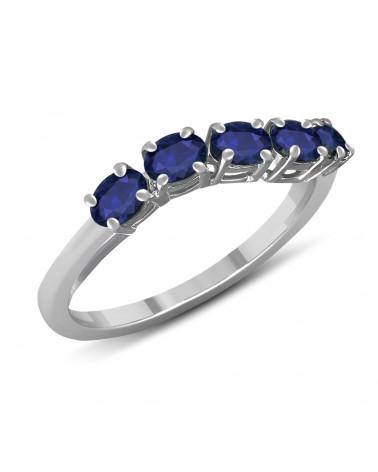 Anello di fidanzamento 5 autentiche pietre di smeraldo su anello in argento rodiato