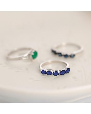 Anillo de compromiso 5 piedras de zafiro en plata de ley 925 de rodio