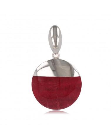 Runder Anhänger Modegraphik-Koralle-Medaillon mit Rhodiumsilber