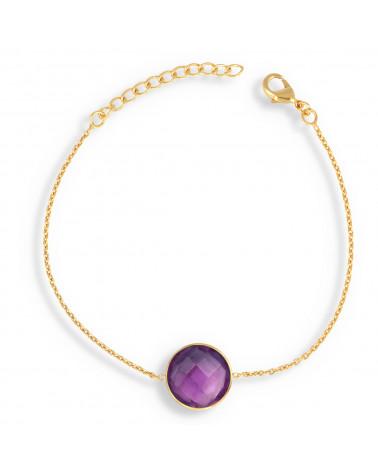 Labradorite stone bracelet round shape on gold plated