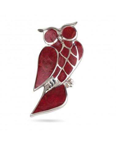 Aden's Jewels-Pendentif-Broche – Argent 925 K-Femme-Corail-Rouge-Hibou-Dimension 47 mm