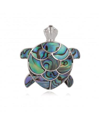 Colgante de tortuga coral de Gorgona y plata de ley 925