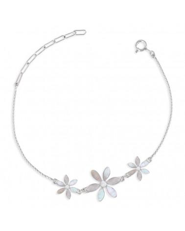 Adjustable bracelet Mother-of-pearl 3 flowers setting sterling silver 925