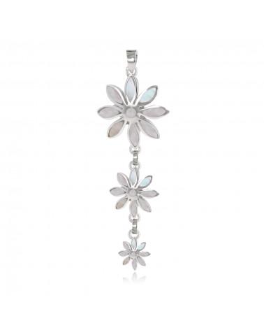 925 Sterling Silver Pendant White Shell 3 Flowers