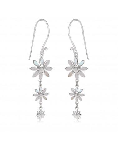 personalisierte Geschenk Frau-Ohrringe Weiss Perlmutt-3 Blumen-Sterling Silber-Frau