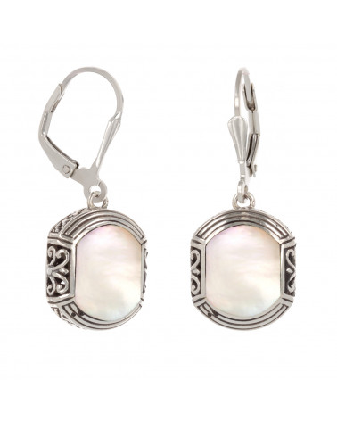 Ethnic labradorite earrings with rhodium 925 sterling silver