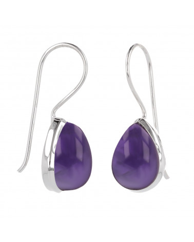 Pear-shaped amethyst earrings set with sterling silver
