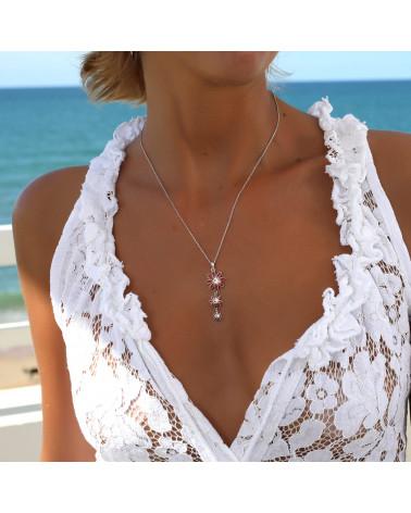 personalisierte Geschenk Frau-Anhänger - Coral-3 Blumen-Sterling Silber-Frau