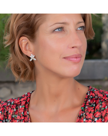 Geschenk Frau-Ohrringe Blume-Weiss Perlmutt-Sterling Silber-Frau