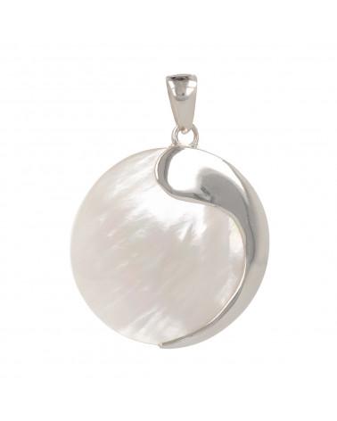 Perlmutt-Halskette aus weiss-Spirale mit 925-tausendstel Rhodium