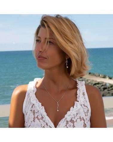 orecchini di perle di corallo bianco perla di corallo argento sterling orecchini da donna