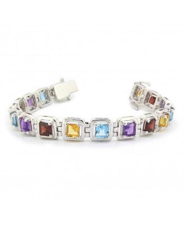 925 Sterling Silver Citrine Amethyst Garnet Topaz Bracelet