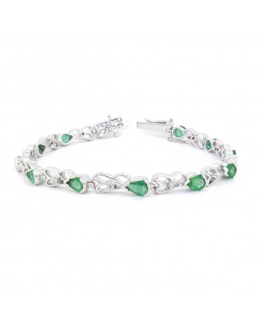 Bracciale Smeraldo Diamanti Argento Massiccio 925