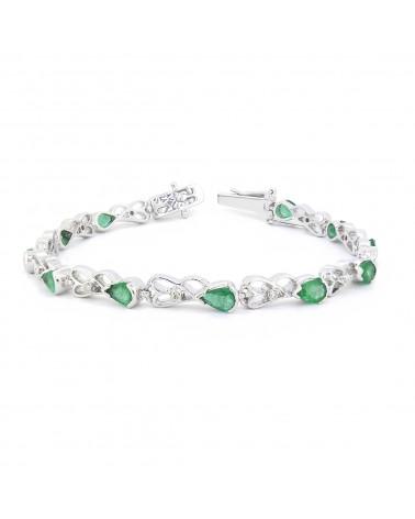 Pulsera Esmeralda Diamantes Plata de Ley 925
