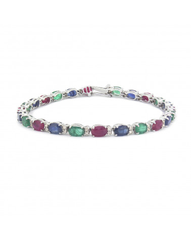925 Sterling Silver Ruby Emerald Sapphire Bracelet